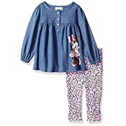 Disney Baby Girls' Minnie Mouse 2 Piece Chambray Top and Legging Set, Blue Chambray, 18M