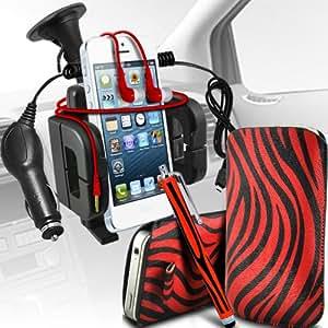 LG L90 Protección Premium de Zebra PU tracción Piel Tab Slip Cord En cubierta de bolsa Pocket Skin rápida Con Large Matching Stylus Pen, Jack de 3,5 mm auriculares auriculares auriculares, cargador de coche USB Micro 12v y soporte universal de la succión del parabrisas del coche Vent Cuna Rojo y Negro por Spyrox