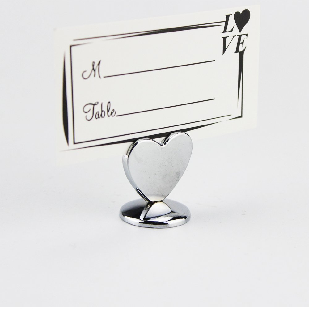 24PCS Table Number Holder,  Alloy Silver Picture & Photo Note Heart Place Card Label Stand For Wedding,  0.9'' Paper Menu Clip For Restaurant,  Tabletop Numbers ,  Food Signs,  Party, Banquet,  Office by ieasycan (Image #3)