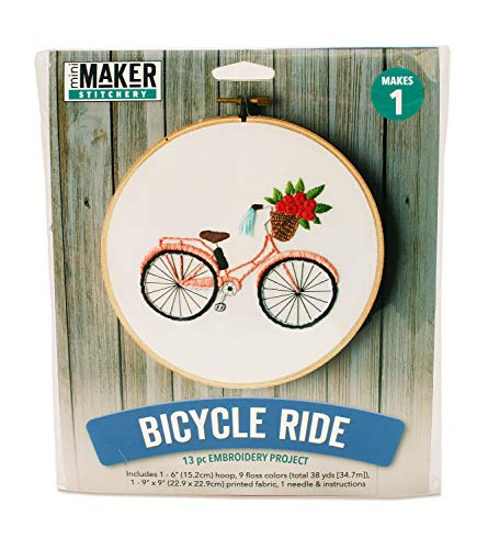 Mini Maker Bicycle Embroidery Stitch Kit – 9 Pieces – Includes Hoop, Pre-Stamped Felt, Needle, Floss and Instructions