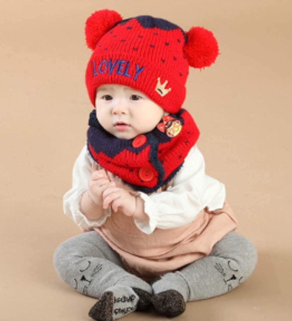 ADESUGATA Baby Boy Girl Cute Baby Winter Hats Scarfs Set,Toddler Children Warm Beanie Hat Knit Soft Cotton Caps Scarves for Infant Kids 0-36Months