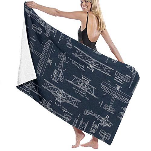 KUYTZDCUTE Bath Towels Aviation Aviators Transportation Blue Multi-Purpose Beach Towel Oversized 52