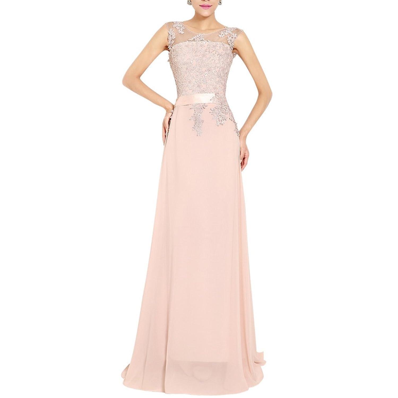 MissFox Damen Abendkleid hochwertiger Spitze in Maxi-Länge