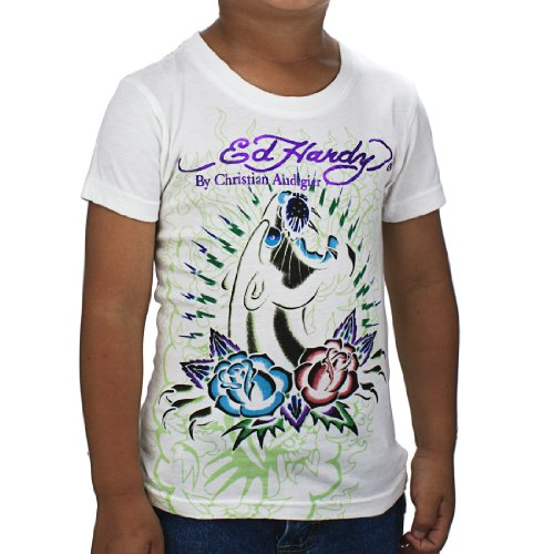 Ed Hardy Little Boys' Panther Tshirt- White - -