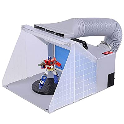 Portable Hobby Airbrush Paint Spray Booth Kit Exhaust Filter LED Light Set Model