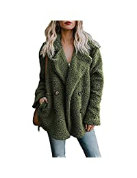 KOERIM Women's Winter Double Breasted Lapel Fleece Coat Fluffy Jacket Pockets