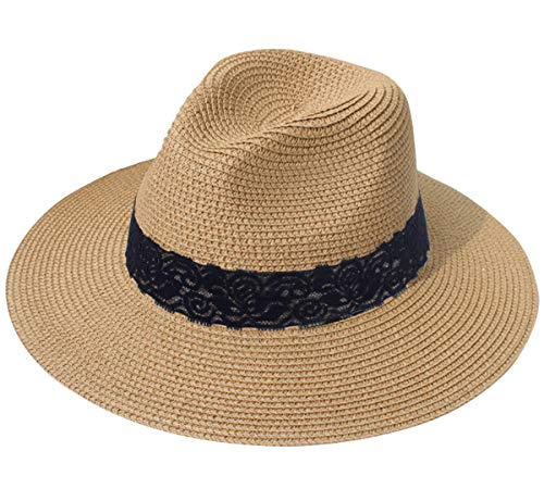 Lanzom Women Wide Brim Straw Panama Roll up Hat Fedora Beach Sun Hat UPF50+ (B-Brown)
