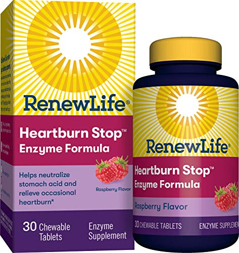 Renew Life Adult Plant-Based Enzyme Supplement - Heartburn Stop Enzyme Formula, Raspberry Flavor - 30 Chewable Tablets (Packaging May Vary) (Heartburn Stop 30 Chewable Tablets)