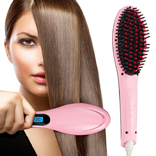 photo Wallpaper of PrettyFirst-PrettyFirst Hair Straightener Brush,Massager Straightening Irons Instant Magic Silky Straight Hair Styling, Heating Detangling-Pink