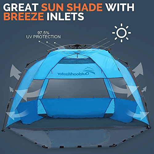 OutdoorMaster Pop Up Beach Tent - Easy to Set Up Portable Sun Shade for Kids u0026 Family  sc 1 st  Hiking Gear Store & Pop Up Beach Tent - Easy to Set Up Portable Sun Shade for Kids ...