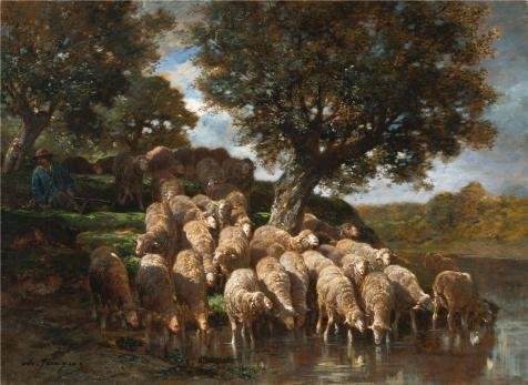 Killer Sheep Costume (High Quality Polyster Canvas ,the Best Price Art Decorative Prints On Canvas Of Oil Painting 'Charles Emile Jacque,Sheep,about 1930', 16x22 Inch / 41x56 Cm Is Best For Bedroom Decor And Home Decor And Gifts)