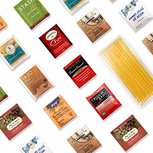Chai Inspired Tea Sampler Kit - 40+ Servings Chai Inspired Tea Assortment with 10 Honey Sticks. Perfect Sampler Gift for Those Who Crave Chai ()