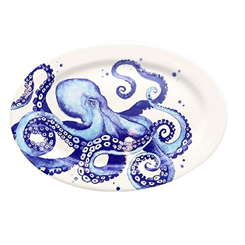 DEI 11258 Ceramic Platter, 16.0 x 11.25 x 1.25, Blue/White