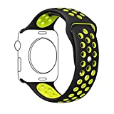 Zantec 42mm Soft Silicone Smart Watch Band Replacement for Apple Watch Band Series 2, Series 1,iWatch Nike+,Sport,Edition,Replacement Strap band (Black+Volt Yellow)