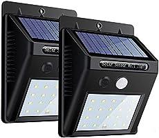 センサーライト 屋外 ZEEFO 20 LED 人感センサー ソーラーライト 太陽発電 省エネ 3つ知能モード 防犯玄関ライト 外灯 屋外照明 駐車場/庭先 軒先 2セット
