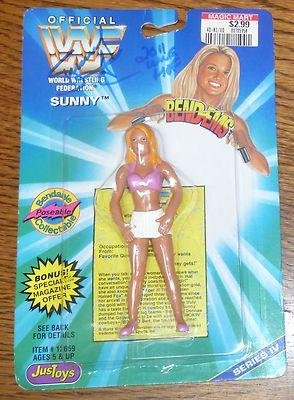 Sunny Tammy Lynn Sytch Signed WWF WWE 1996 Bend-Ems Action Figure COA - PSA/DNA Certified - Autographed Wrestling Photos