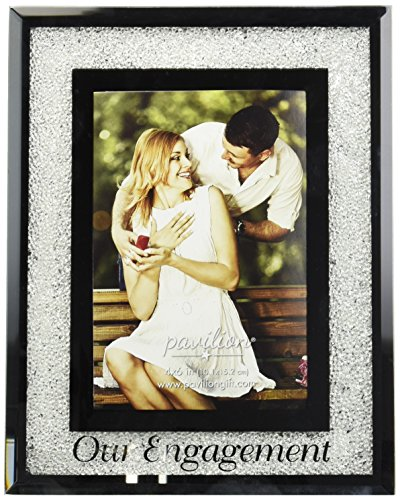 Pavilion Gift Company 85116 Glorious Occasions - Our Engagement White Crystal Mirrored 4x6 Picture Frame
