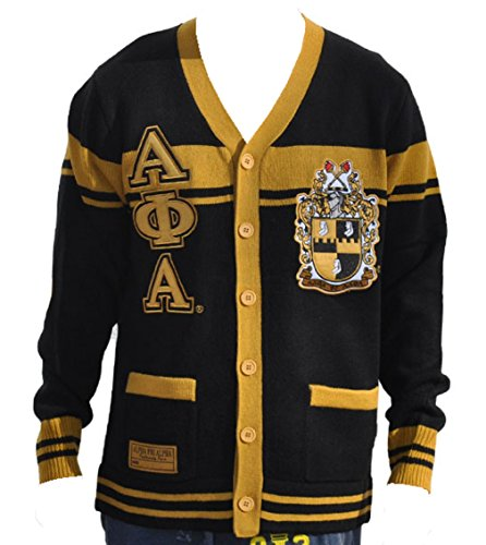 Big Boy Headgear Alpha Phi Alpha Fraternity Men's Wool Sweater Large Black/Gold