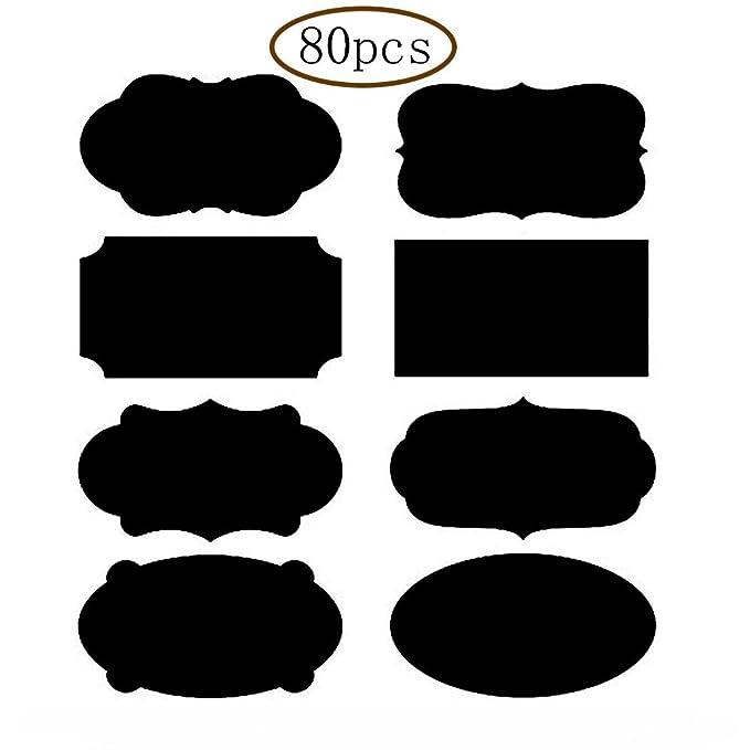 MINGZE 80pcs Etiquetas para Pizarra, Pegatinas Reutilizables ...
