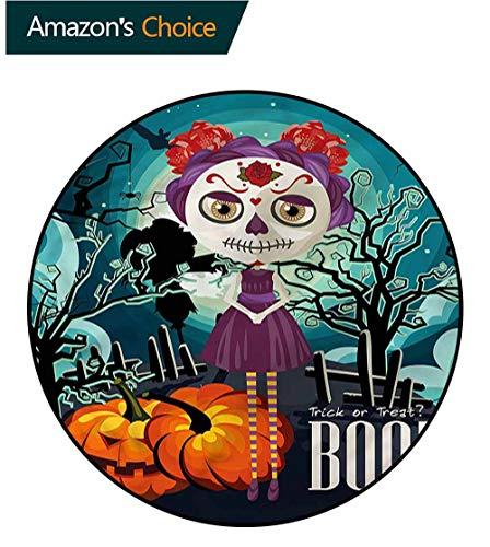RUGSMAT Halloween Super Soft Circle Rugs for Girls,Girl Sugar Skull Makeup Door Mat Indoors Bathroom Mats Non Slip Diameter-24]()