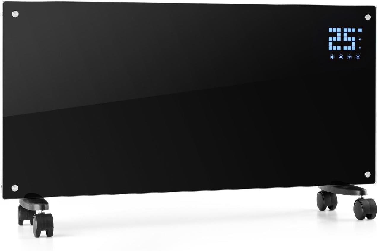 Klarstein Bornholm - Radiador eléctrico, Calefactor de Vidrio, Convector, 2000W, Panel táctil LED, Mando Distancia, Modo Eco, Control Parental, Negro