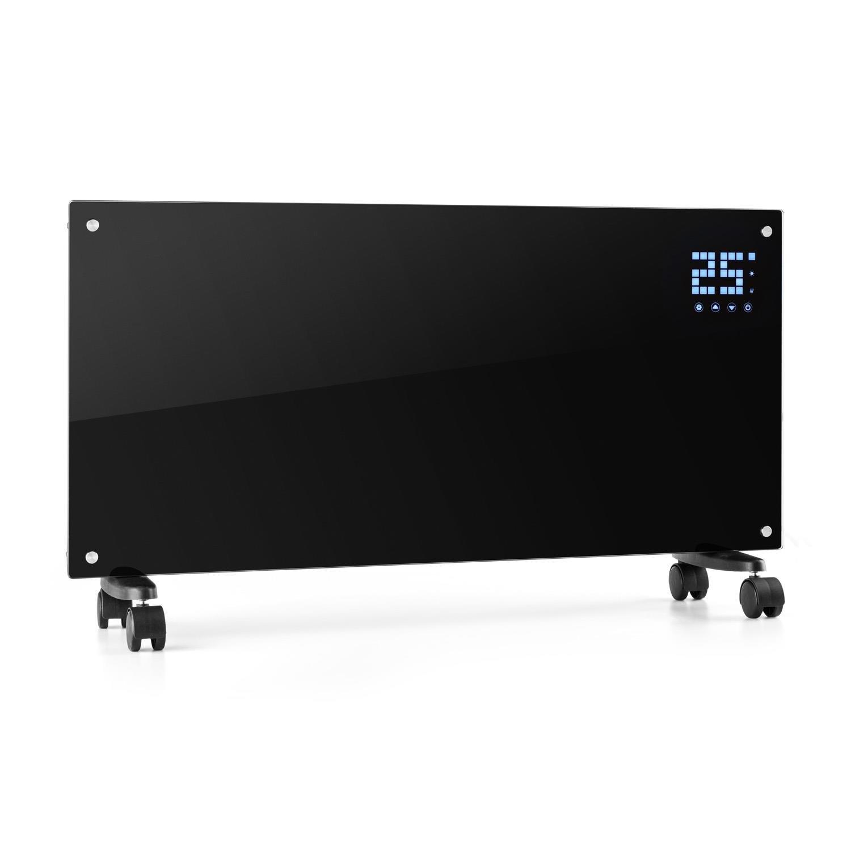 Klarstein Bornholm • Radiador eléctrico • Calefactor de Vidrio • Convector • 2000W • Panel táctil LED • Mando Distancia • Modo Eco • Control Parental • Montaje en Pared • Negro