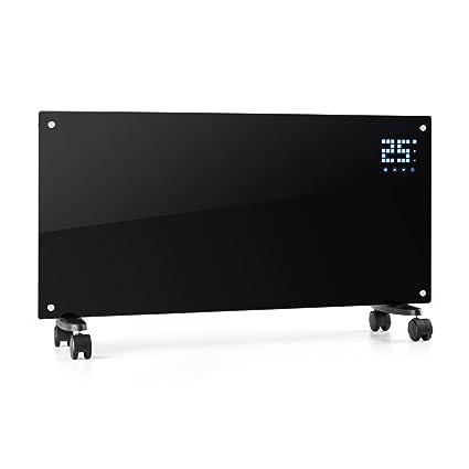 Klarstein Bornholm Radiador eléctrico • Calefactor de Vidrio • Convector • 2000W • Panel táctil LED