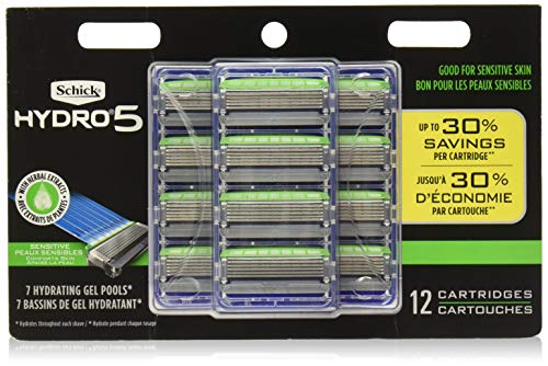 Schick Hydro 5 Mens Sensitive Razor Blade Refills 12 Count - Unboxed