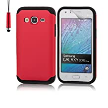 Samsung Galaxy Core Prime Slim Armour Case by 32nd, Slim Shockproof Hard Shell Cover, Suitable for SM-G360F and SM-G361F - Red