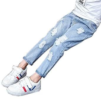 Sitmptol Big Girls Distressed Ripped Hole Jeans Fashion Soft Denim Pants Light Blue 160