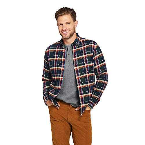 Lands' End Men's Big & Tall Traditional Fit Long Sleeve Pattern Flagship Flannel Shirt, L, Green Forest Plaid