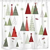 Geometric Modern Design Christmas Shower Curtain Christmas Tree Bathroom Home Office Holiday Wall Decoration as Tapestry and Photo Booth Backdrop Red Green White Printed