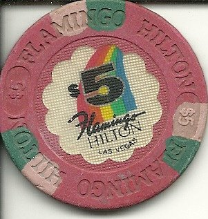 $5 old flamingo hilton obsolete casino las vegas casino chip ()