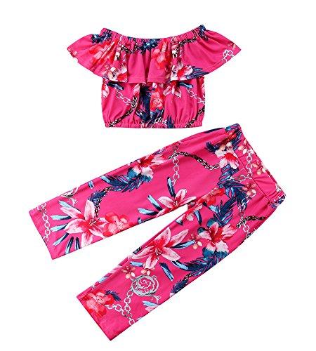 Infant Baby Girl Off Shoulder Floral Print Lotus Leaf Top Bellbottoms Pant Outfit Set (Red, 3-4 (Leaf Print Pant Set)