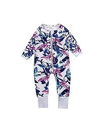 "Baby Girl Newborn ""Iris"" Footed Handed Pajama Sleeper Cotton (Size 4-24Month)"