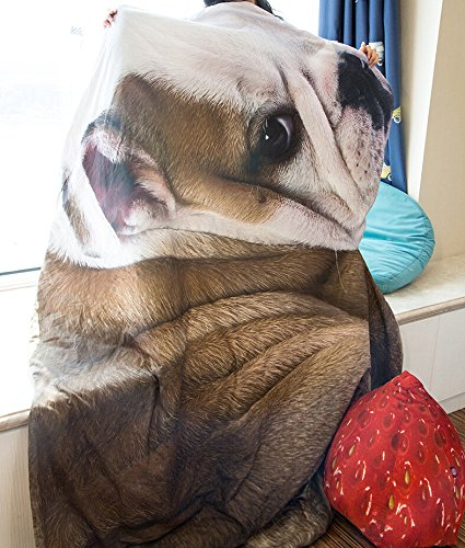3D Animal Prints Blanket Bedding Dog Shaped Summer Quilt Bulldog Comforter Washable Light Quilt by Getime (Image #4)