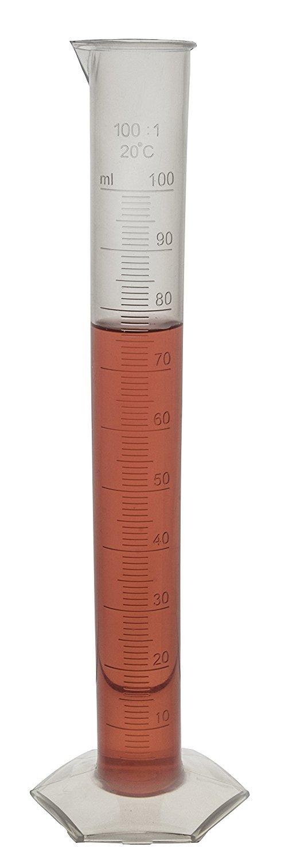 Graduated Cylinder, Polypropylene , Hexagonal Base, 100ml - Eisco Labs
