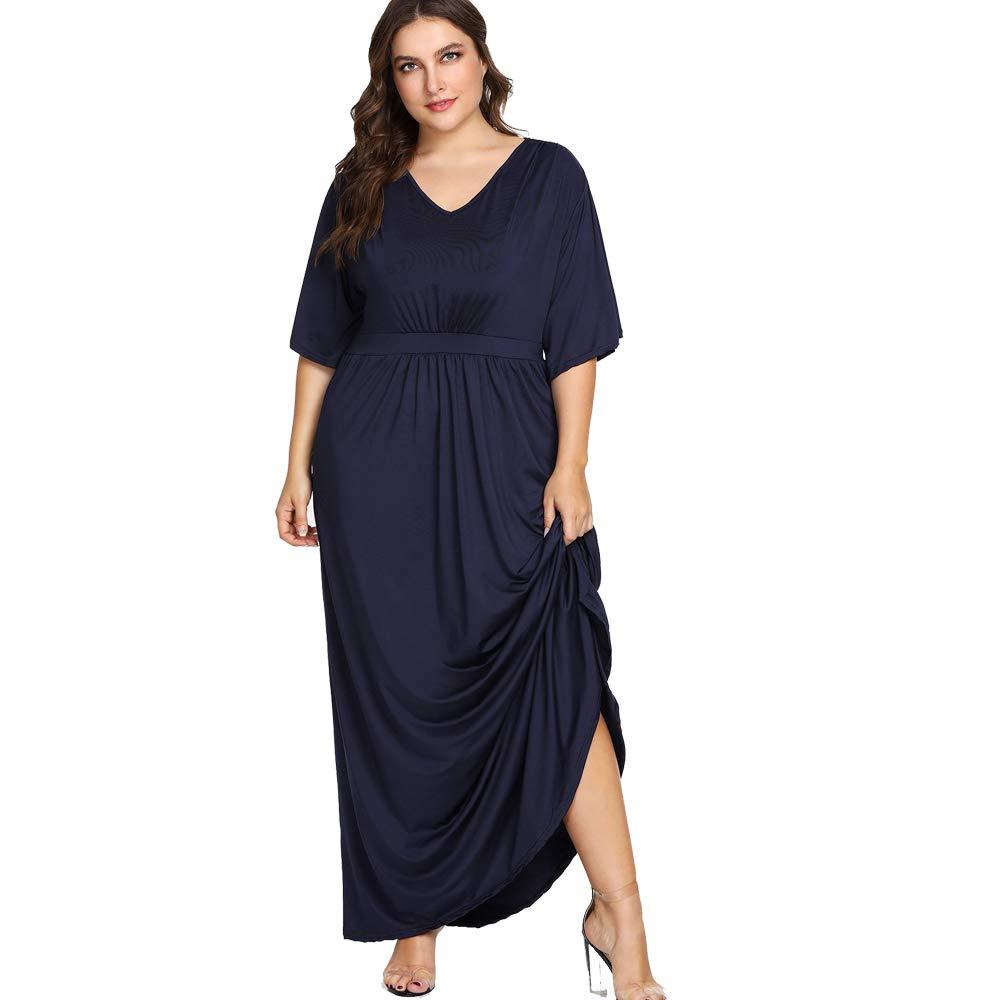 ilovgirl Maxi Abiti Donna Plus Size Dress Manica Corta Navy Blu Alta Vita Sera Partito Vestito Grasso