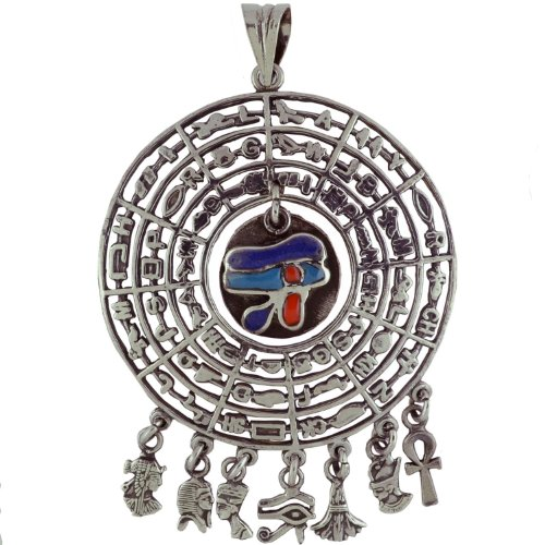 Egyptian Jewelry Silver Eye of Horus Hieroglyphic Pendant