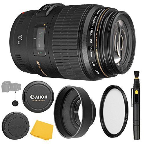 Canon EF 100mm f/2.8 Macro USM Fixed Lens + UV Filter + Collapsible Rubber Lens Hood + Lens Cleaning Pen + Lens Cap Keeper + Cleaning Cloth - 100mm Macro Ultrasonic Motor - International Version