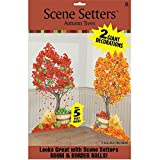 "Colors of Fall Thanksgiving Party Autumn Trees Scene Setters Add‑Ons Decoration, Plastic, 65"" x 33"" Pack of 2"