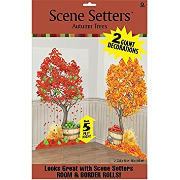 Colors of Fall Thanksgiving Party Autumn Trees Scene Setters Add‑Ons  Decoration, Plastic,