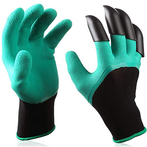 Garden Genie Gloves, Apsung Breathable Garden Gloves With 4 Fingertips Claws, Safe Gardening Tool, Gift for Gardeners, Perfect for Digging Weeding Seeding poking Planting