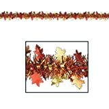 Beistle 1-Pack Decorative Flame Resistant Metallic Autumn Leaf Garland, 12-Feet