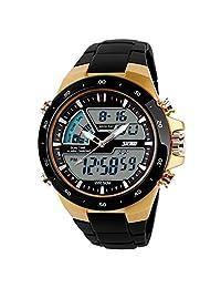ufengke® fashion waterproof diving sports watch for men,boys children alarm luminous wrist watch,gold case black band