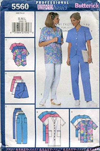 Butterick Professional Uniform Basics Pattern 5560 Misses'/Misses' Petite Dress, Top, Skort & Pants, S-M-L ()