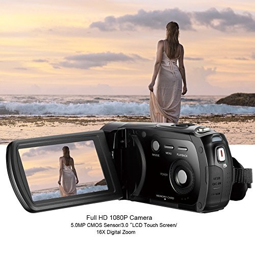 Digital Camera Camcorder FHD 1080P Night Vision Video Recorder 24MP 3 Inch Touch Screen CMOS 5.0 Sensor 270° rotation 16X Digital Zoom