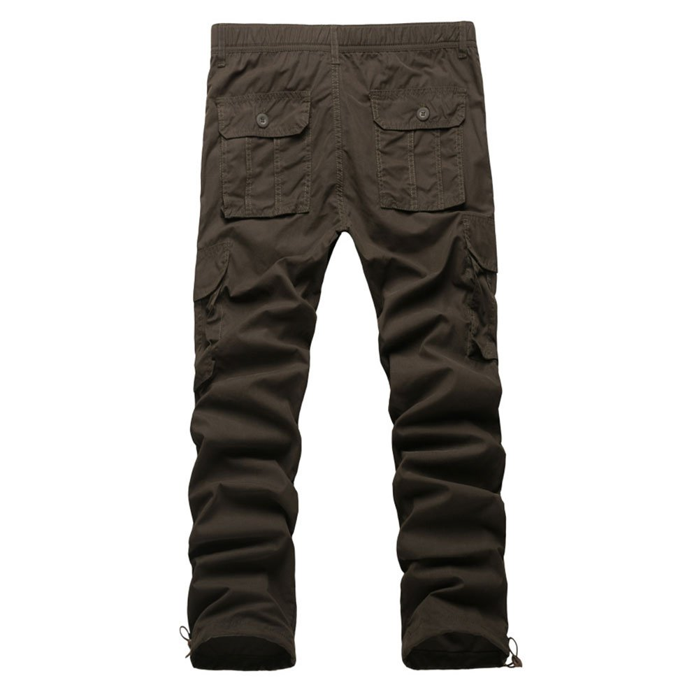 LINGMIN Mens Classic Elastic Waist Cargo Pants Relaxed Fit Pockets Twill Tactical Pants
