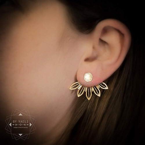 Flower leaf ear jacket botanical silver stud earrings.