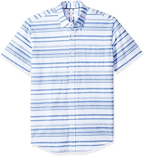(Amazon Essentials Men's Regular-Fit Short-Sleeve Pocket Oxford Shirt, Blue Horizontal Stripe, Medium)